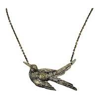 Vintage Figural Bird in Flight Three Dimensional Lavaliere Style Necklace FREE SHIPPING