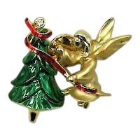 50% Off Adorable Signed Cigi Vintage Figural Angel Christmas Tree Brooch or Clutch Pin