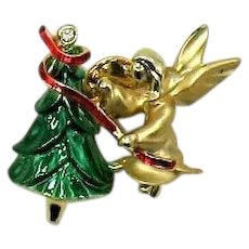 Adorable Signed Cigi Vintage Figural Angel Christmas Tree Brooch or Clutch Pin FREE SHIPPING