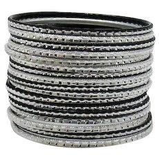 Set of 17 Etched Metal Vintage Bangle Bracelets FREE SHIPPING
