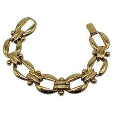 Signed Erwin Pearl Heavy Golden Link Vintage Bracelet FREE SHIPPING