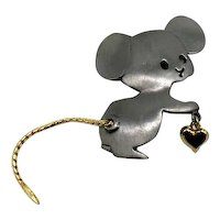 50% Off Signed Ultra Craft Adorable Vintage Mouse Brooch Mixed Metals Mouse Articulated Tail Heart Charm