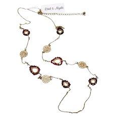 Signed Ethel & Myrtle Vintage Red Swarovski Glass Beaded Station Necklace Original Tag Unworn FREE SHIPPING