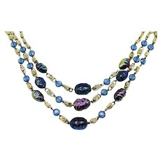Gorgeous Signed W Germany Iridescent Molded Glass Eloxal Metal Vintage Necklace FREE SHIPPING