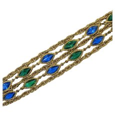Stunning Five Row Navette Glass Stone Vintage Costume Jewelry Bracelet FREE SHIPPING