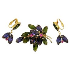 Gorgeous Costume Jewelry Rhinestone Brooch Dangle Clip Earrings Set AMAZING Color Combination! FREE SHIPPING