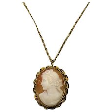 Beautiful Vintage Large 12k Golf Filled Coral Shell Cameo Convertible Pendant Brooch FREE SHIPPING