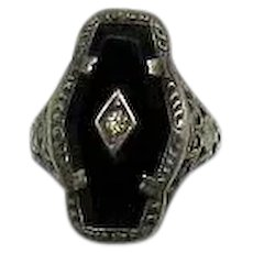 Art Deco Sterling Silver Black Onyx Filigree Vintage Diamond Chip Ring FREE SHIPPING