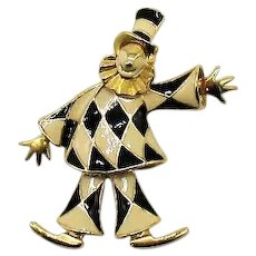 Signed HI Adorable Vintage Articulated Enameled Figural Clown Brooch FREE SHIPPING