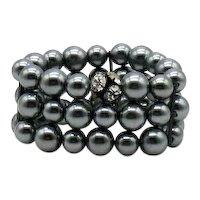 BOLD Vintage Grey Faux Glass Pearl Rhinestone Rondel Stretch Bracelet 138 Grams! FREE SHIPPING