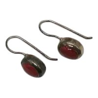 Beautiful Sterling Silver 925 Oval Bezel Set Coral Colored Gemstone Pierced Earrings FREE SHIPPING