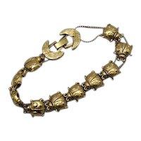 Adorable Vintage Figural Golden Lady Bug Slide Bracelet FREE SHIPPING