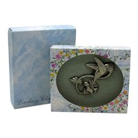 Signed Lindsay Claire Vintage Pewter Figural Hummingbird Flower Pin Original Box Unworn FREE SHIPPING