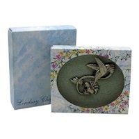 50% Off Signed Lindsay Claire Vintage Pewter Figural Hummingbird Flower Pin Original Box Unworn
