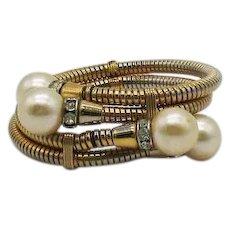 Vintage Snake Skin Bypass Bracelet Faux Pearls Rhinestone Rondels FREE SHIPPING