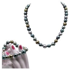 Gorgeous Signed Kissaka Vintage Glass Pearl Necklace 12mm to 14mm Size Faux Pearl Necklace Bracelet Set Original Tags Unworn FREE SHIPPING