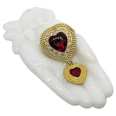 Bold Vintage Signed Victoria's Secret Double Heart Shaped Red Rhinestone Brooch