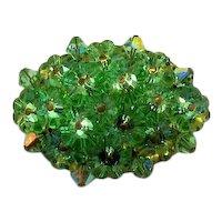 50% Off Stunning Green Rivoli Super Sparkling Rhinestone Vintage Brooch