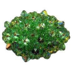 Stunning Green Rivoli Super Sparkling Rhinestone Vintage Brooch FREE SHIPPING