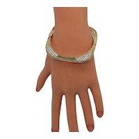 Unusual Sparkling Vintage Flat Square Pava Crystal Rhinestone Hinged Bangle Bracelet FREE SHIPPING