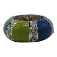 Bold Vintage Enameled Pava Rhinestone Veining Stretch Ring FREE SHIPPING UNWORN