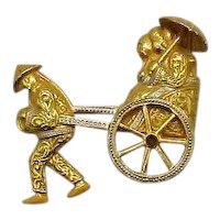 Vintage Figural White Enameled Mechanical Asian Rickshaw Golden Brooch FREE SHIPPING