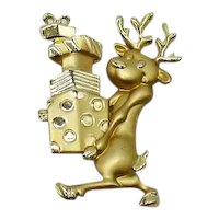 Adorable Signed AJC Golden Vintage Reindeer with Gifts Brooch 2 ½ Inches Long FREE SHIPPING