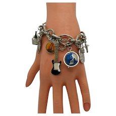 Fabulous Vintage Silver Metal Bold Travelers Charm Bracelet 86 Grams FREE SHIPPING
