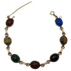 Beautiful Genuine Scarab Gemstone 12K Gold Filled Vintage Bracelet FREE SHIPPING