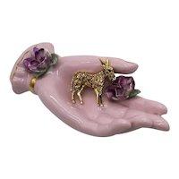 50% Off Gorgeous Figural Citrine Rhinestone Golden Donkey Vintage Brooch
