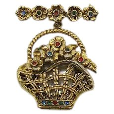 Fabulous Signed Vintage Creation Flower Basket Quarts Watch Brooch FREE SHIPPING