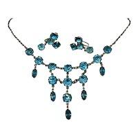 Gorgeous Vintage 1940s Delicate Blue Rhinestone Bib Necklace Earrings Set FREE SHIPPING