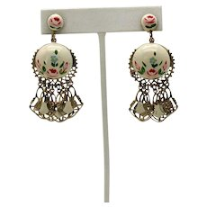 Fabulous 1940s Vintage Enameled Floral Dangle Fringe Screw Back Earrings FREE SHIPPING