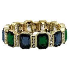 Gorgeous Silver Foiled Emerald Cut Glass Stone Vintage Stretch Bracelet FREE SHIPPING