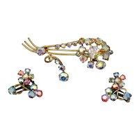 Stunning Vintage Signed Austria Aurora Borealis Rhinestone Floral Brooch Earrings Set FREE SHIPPING