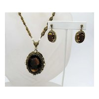 Vintage Givre Glass Cameo Rhinestone Filigree Necklace Pierced Earrings FREE SHIPPING