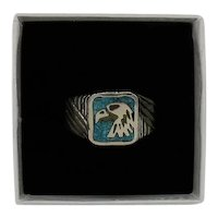 Early Native American Indian Vintage Turquoise Chip Inlay Eagle Sterling Silver Ring Unisex FREE SHIPPING