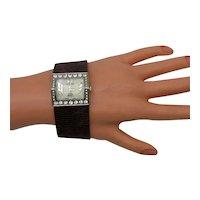 Vintage Signed Alberto Fioro Wide Leather Lady's Modernist CZ Wrist Watch Unworn FREE SHIPPING
