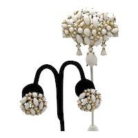 Signed Art BOLD Arthur Pepper FABULOUS White Milk Glass Brooch Clip Earrings Set FREE SHIPPING