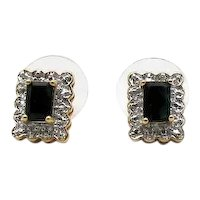 Vintage Signed Emerald Cut Blue Sapphire 925 Sterling Silver Vermeil Pierced Earrings FREE SHIPPING