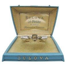 Bulova La Petite Diamond Wrist Watch 10K Rolled Gold Mid Century Original Box FREE SHIPPING
