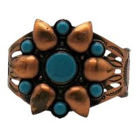 Signed Bell Trading Post Vintage BOLD Native American Indian Copper Turquoise Cuff Bracelet FREE SHIPPING