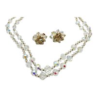 Stunning Signed Vendome Faceted Crystal Lead Glass Beaded Vintage Golden Necklace Earrings Set FREE SHIPPING