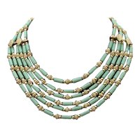 Fabulous Six Strand Vintage Turquoise Lucite Beaded Necklace