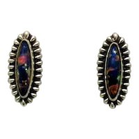 Pretty Vintage Opal Signed Sterling Silver 925 Screw Back Earrings FREE SHIPPING