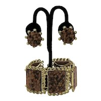RARE Signed Pam Kaleidoscope Vintage Mid Century Confetti Lucite Bracelet Earrings Set FREE SHIPPING