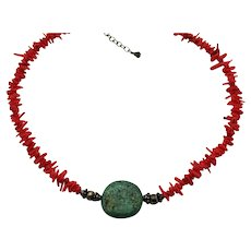 Beautiful Branch Coral Green Turquoise Vintage 925 Sterling Necklace FREE SHIPPING