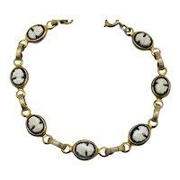 Gorgeous Black White Glass Cameo Vintage 1940s Bracelet