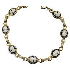 Gorgeous Black White Glass Cameo Vintage 1940s Bracelet FREE SHIPPING