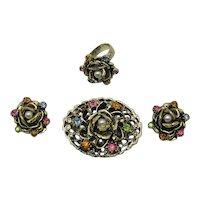 Fabulous Vintage Parure Brooch Ring Earrings Metal Rose Faux Pearl Rhinestones FREE SHIPPING